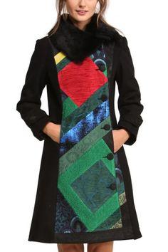 Black Petit Caprice Moto Pea Coat by Desigual Kurti Neck Designs, Online Fashion Stores, Unique Outfits, Fashion 2017, Dresses For Work, Clothes For Women, My Style, Jackets, Pea Coat