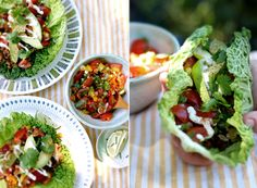 tacos in lettuce leaves instead of shells....i like it!