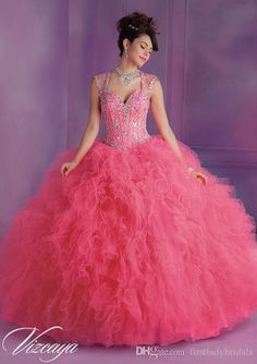 Masquerade Ball Gowns Water Melon Organza Quinceanera Dresses Cap Sleeves Sweetheart 2015 Customize Dress For Special Occasion Party