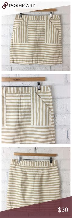 "Loft Cotton and Linen Striped Mini LOFT Tan Striped Mini Skirt. Front pockets with zip and hook closure.  Cotton and Linen.Size 4. Preowned 0208 Measurements flat  Waist 15.5"" Length 16.5"" Bundle in my closet and save. I ship same day or next day almost always! No trades LOFT Skirts Mini"