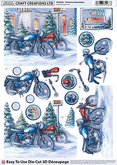 Craft Creations Christmas Motorbikes - Craft Creations from Mountain Ash Crafts UK Paper Napkins For Decoupage, Tissue Paper Crafts, Decoupage Vintage, 3d Paper, Christmas Decoupage, 3d Christmas, 3d Cards, Christmas Cards, Collages