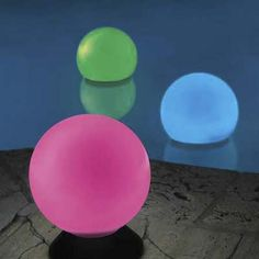 Light Up Your Yard  Staked in the ground, floated on a pool,   these 10-inch solar-powered orbs add an interesting twist to party decor. A solar panel and internal battery powers two LEDs, which slowly turn blue to pink to red to green.