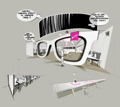 Deutsche Telekom - MWC 2013 by Timo Müller, via Behance Exhibition Stall, Exhibition Stand Design, Exhibition Display, Web Banner Design, Display Design, Store Design, Concert Stage Design, Stand Feria, Sketch Design