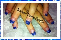 Royal blue and silver glitter tip acrylics. @Elizabeth Lockhart Jenna