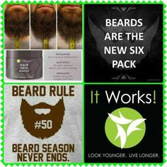 It's that time of year! Men, are you ready to get your beard on?! HairSkinNails to the rescue. Get ready for winter now! Message me for details. #ashs2diamond #HSN #beards #itworks