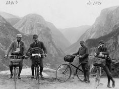 BIke tourists in 1898. Climbing mountains  with fixed gear bikes---and I think some hills in Tucson are a hard climb!