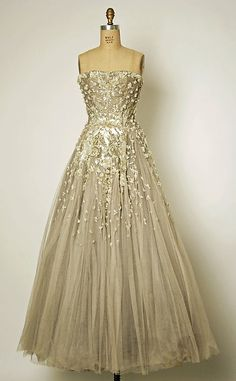 Dior, silk, simulated pearls, beads, sequins, rhinestones, plastic, 1954-1955 sew wear love make