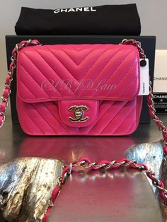 e05c2a49378d5c NWT CHANEL 2017 Square Classic Mini Flap FUSCHIA PINK CHEVRON LAMB  Crossbody NEW #CHANEL #MessengerCrossBody