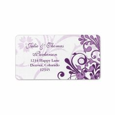 Abstract Floral Wedding Return Address Label