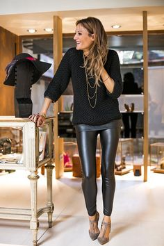 faux leather leggings and knit sweater