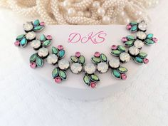 Cherries Jubilee, Swarovski Crystal Bracelet, Pink, Green, Opal,  Navettes, 8mm, Adjustable, Ant, Silver, DKSJewe;rydesigns, FREE SHIPPING