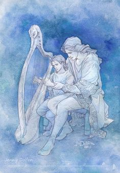 Harp lessons - in blue - by Jenny - Maglor and little Elrond