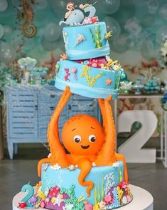 One word: speechless! This amazing under the sea birthday cake is by is so incredibly creative! One word: speechless! This amazing under the sea birthday cake is by is so incredibly creative! Baby Cakes, Baby Birthday Cakes, 1st Boy Birthday, Gravity Defying Cake, Gravity Cake, Ocean Cakes, Unique Cakes, Cute Cakes, Celebration Cakes