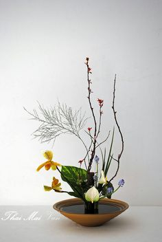 ikebana by Thai Thomas Mai Van Ikebana Flower Arrangement, Ikebana Arrangements, Floral Arrangements, Japanese Flowers, Japanese Art, Art Floral Japonais, Arreglos Ikebana, Sogetsu Ikebana, Oriental Flowers
