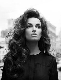 love 70s-esque side-swiped hair, big curls.