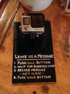 Use a GoPro for a DIY wedding video station for your guests to record messages for the bride and groom!