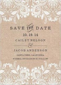 #Save_the_Date White Lace And Burlap Vintage Wedding Invitations. Affordable  And Easy To Customize!