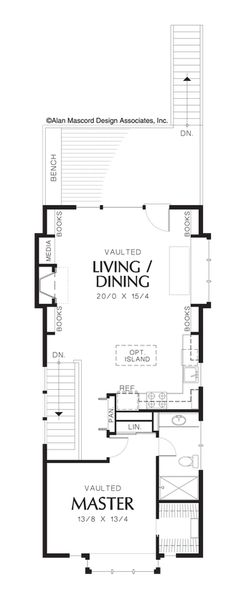 Reverse Living for a Flat, Narrow Lot. House Plan The Jamieson is a 1421 SqFt Craftsman, and Vacation style home floor plan featuring amenities like and Reverse Living by Alan Mascord Design Associates Inc. Small Tiny House, Tiny House Cabin, Farm House, Shotgun House Floor Plans, Compact House, Craftsman Style House Plans, Woodworking Bed, Building A Shed, Built In Shelves