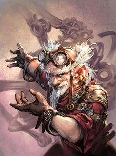 Style steampunk Card Name: Gnomish Experimenter Artist: Jesper Ejsing Anime Art Fantasy, Fantasy Rpg, Fantasy Artwork, Medieval Fantasy, Dungeons And Dragons Characters, Dnd Characters, Fantasy Characters, Fantasy Portraits, Character Portraits