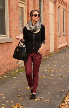 Love this mix of burgundy and black, especially the flat oxfords!