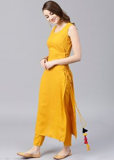 Readymade Straight Cut Long Kurta In Yellow Party Wear Indian Dresses, Indian Fashion Dresses, Designer Party Wear Dresses, Kurti Designs Party Wear, Dress Indian Style, Indian Designer Outfits, Fashion Outfits, Punjabi Fashion, Simple Kurta Designs