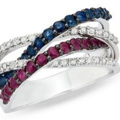 MY MOTHERS RING ALL THREE BOY'S BIRTH STONES...Patriotic ring - ruby, diamond, sapphire....LOVE!!