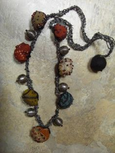 Fiber Jewelry- A Kimono Fabric Bead Necklace
