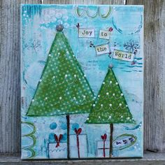 Christmas Art - Original Mixed Media Collage 8x10 Canvas - Ready to Hang - Whimsical Trees - Christms Decor on Etsy, $30.00