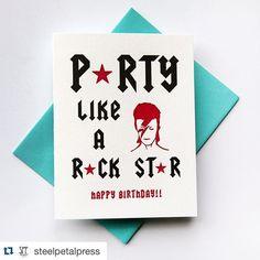 #Repost @steelpetalpress  Another new #birthdaycard release for spring! We  #davidbowie ! #letterpress #tsbcalum #greetingcards #nss2016 #steelpetalpress #stationerylove #handmadeinchicago by stationeryshow