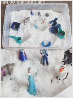 Frozen Inspired Birthday Party - Activities - Julia Linke - Frozen Inspired Birthday Party - Activities A simple Frozen inspired sensory bin with instasnow - Elsa Birthday Party, Frozen Bday Party, Frozen Themed Birthday Party, Disney Frozen Birthday, Winter Birthday, 4th Birthday Parties, 2nd Birthday, Frozen Party Favors, Olaf Party