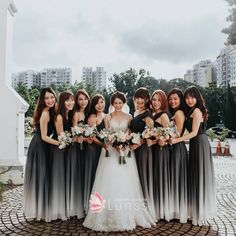 Gorgeous ombre grey bridesmaids dresses with delicate white and pink bouque Ombre Bridesmaid Dresses, Ombre Wedding Dress, One Shoulder Bridesmaid Dresses, Black Wedding Dresses, Alternative Bridesmaid Dresses, Halloween Bridesmaid Dress, Charcoal Bridesmaid Dresses, Bridesmaid Ideas, Grey Wedding Theme