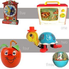 Vintage Fisher-Price Toys, I loved the little red apple.  It make a cool tinkling sound when it moved.
