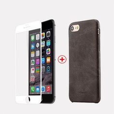 USAMS Leather Case For iPhone 7, 7 plus Anti-fingerprint Case + film for Screen protector