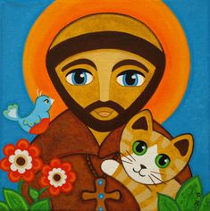 St FRANCIS of Assisi with Ginger Tabby CAT & Bird Folk Art PRINT from Painting by Jill