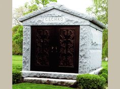 Featured Is A Four Crypt Family Private Mausoleum with Flamed Walls. Mausoleum was Constructed in Tiffany Grey Granite in a Size of x x Tiffany Gray, Memorial Park, Side Wall, Picture Wall, Cemetery, Old World, Funeral, Granite, Walls