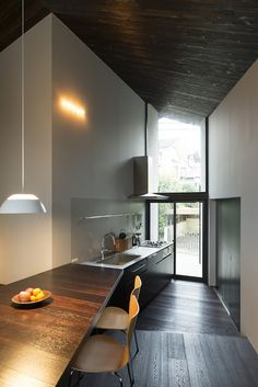 Japanese home, dark floors and ceiling