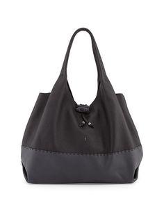 V23EA Henry Beguelin Canotta Bicolor Calfskin Hobo Bag, Black/Gray