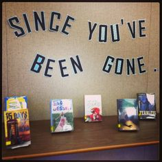 School library display for September, featuring new books purchased over summer break