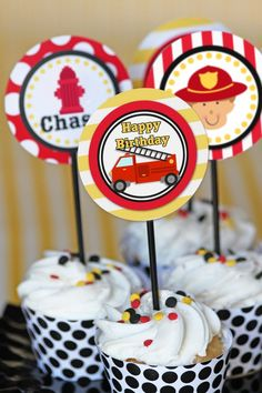 Firetruck Party -Birthday - Cupcake Toppers- DIY PRINTABLE by Amanda's Parties To Go