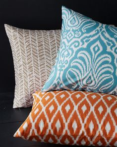Tribal Print Percale Bedding, flowerpot orange shams behind crisp white duvet and pillows Home Decor Furniture, Home Decor Bedroom, Home Decor Items, Master Bedroom, Bedroom Ideas, Orange Bedding, Bedroom Orange, Charles Eames, Cute Bedding