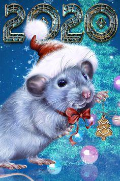 Whimsical Christmas, Christmas Fairy, Christmas Animals, Christmas And New Year, Merry Christmas, Happy New Year Animation, Happy New Year Wishes, Happy New Year 2020, Chinchilla Cute