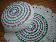 Crochet rug Carpet hypoallergenic rainbow cream green by Stefkowo