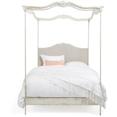 Old World White/Fog Canopy Bed ($4,995) ❤ liked on Polyvore featuring home, furniture, beds, bed, white furniture, old world furniture, white bed, colored furniture and patina furniture