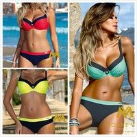 100% Brand New. Item Type:Bikinis Set Waist: Natural Material:Polyester+Spandex Style:Push Up Swimwe