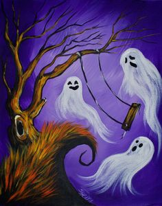 Learn to paint with Acrylic Easy Spooky ghost tutorial . Paint a long with us. This is a super simple fun halloween Project. How to paint a Spooky tree with swing surrounded by playful ghosts. Halloween Canvas Paintings, Fall Canvas Painting, Halloween Painting, Halloween Drawings, Autumn Painting, Halloween Prints, Halloween Pictures, Autumn Art, Halloween Art