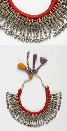Yemen - Sanaa | Married woman's necklace; silver, cotton.  ca. early 20th century  // ©Quai Branly Museum. 71.1972.49.66