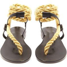 Álvaro Aurora rope and leather sandals (2,440 MYR) ❤ liked on Polyvore featuring shoes, sandals, rope sandals, black sandals, kohl shoes, genuine leather shoes and black metallic shoes
