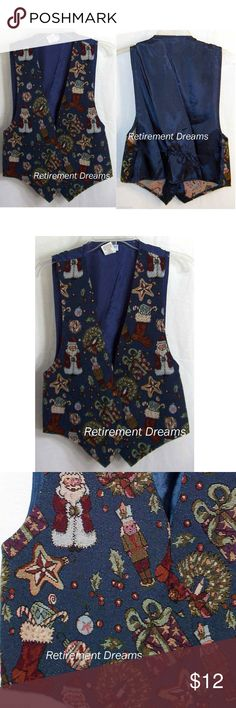CHRISTMAS Vest M Santa Claus Toy Soldier Holly Women's Christmas Vest is a size Medium by BACKROAD BLUES. tapestry style with vintage looking figures of Santa Claus, Toy Soldiers, Wreaths, Candles, Stars, Christmas Tree Decorations, Stockings full of candy, holly and berries, all on a blue background.  This vest has a blue back with a gathering to adjust the fit & 3 brass-toned very decorative buttons to close the front.  This item is in good USED condition.   made of 55% cotton, 45%…