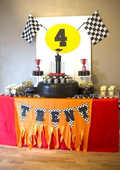 Boys Rad Race Car Themed BIrthday Party Table Ideas