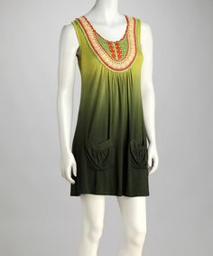Another great find on #zulily! Green Crocheted Ombré Dress by Blue Tassel #zulilyfinds